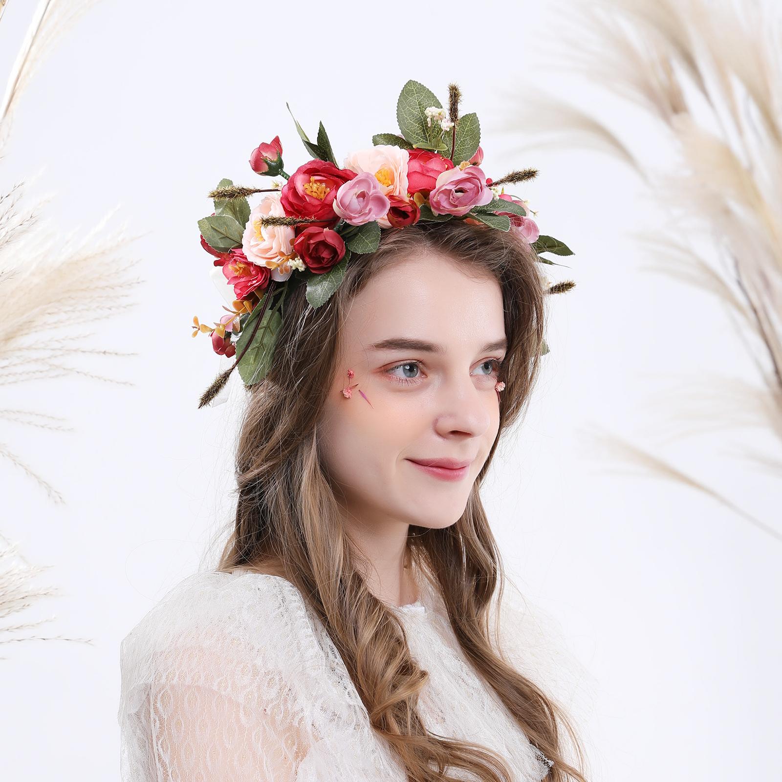 Fairy Party LED Rosebud Garland Flower Crown Headband Light Up Festival