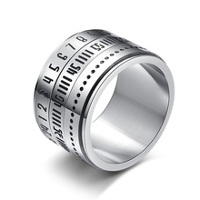 New Fashion Trend 인기있는 Stainless Steel 시간 jewelry 링 Rotating 와 아랍어 Numerals 링