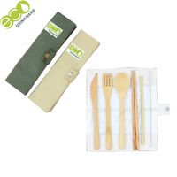 with Case Knife, Fork, Spoon, Chopsticks, Straw and Cleaning Brush travel wooden kids bamboo cutlery set with bag