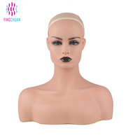 Female Life size Mannequin Head with Shoulder Wigs Display Plastic Mannequin Head