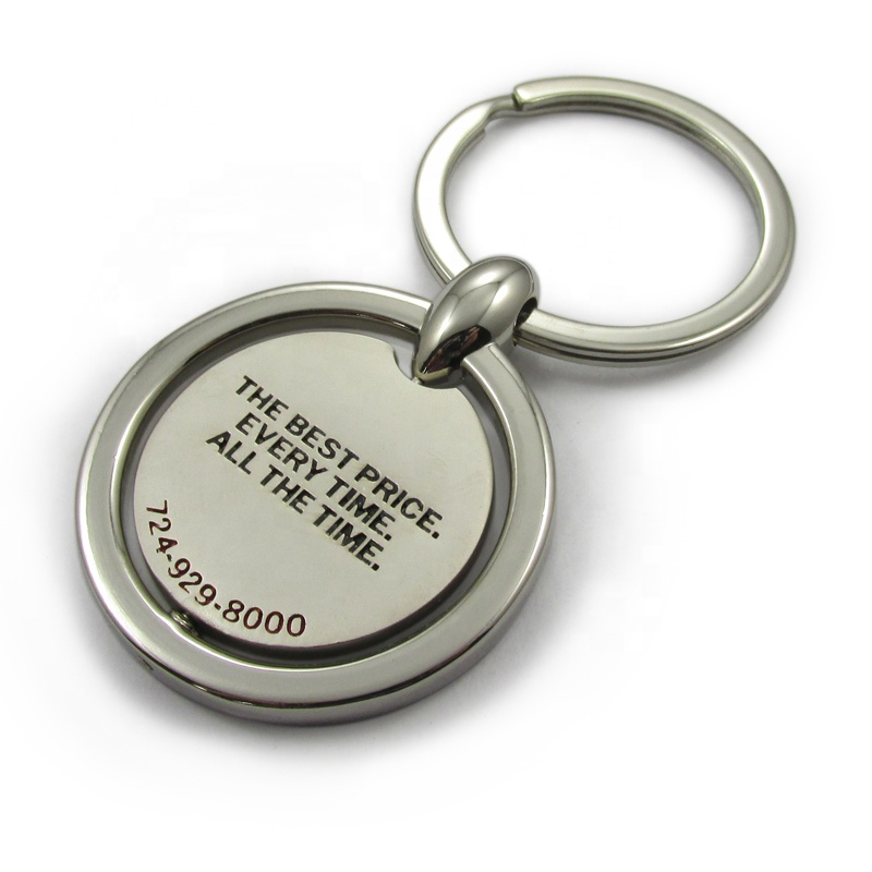 gold silver custom metal laser polished engraved rotatable house shaped keychain / key ring