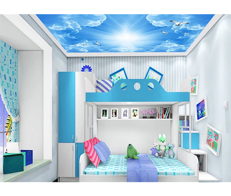Customize Sky Cloud Ceiling Mural Wallpaper White Pigeons 3d