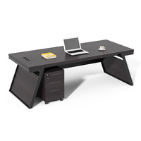 european style luxury melamine wooden black executive office desk foshan manager office table with side table design