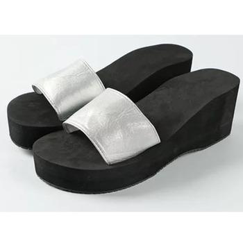 Black Silver Ladies Sandal Chappal