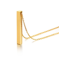Unique gold plated jewelry custom bar necklace personalized name pendant necklace
