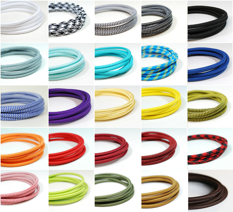 Colorful Round Textile Cable Decorative Fabric Cotton <strong>Wire</strong> for Edison Lamp and Hanging Pendant Light
