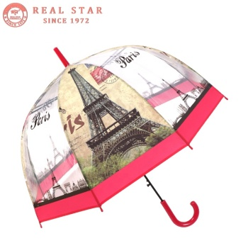 RST real star paris eiffel tower printed POE parapluie clear umbrella
