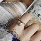 18K gold plated heart shape M letter rings