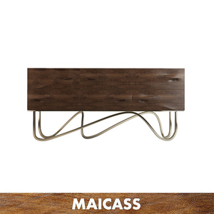 Wavy stainless steel gold chrome solid wood sideboard