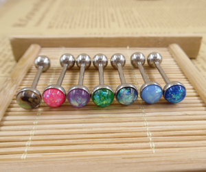 Gaby Wholesale 316L Surgical Steel 14G Opal Tongue Rings Barbells