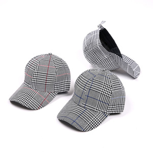 fashion embroidery blank logo girl baseball cap white and black plaid hat