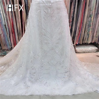 HFX New product african sequin lace fabric 2019 high quality lace white lace fabric for wedding evening dress,free shipping