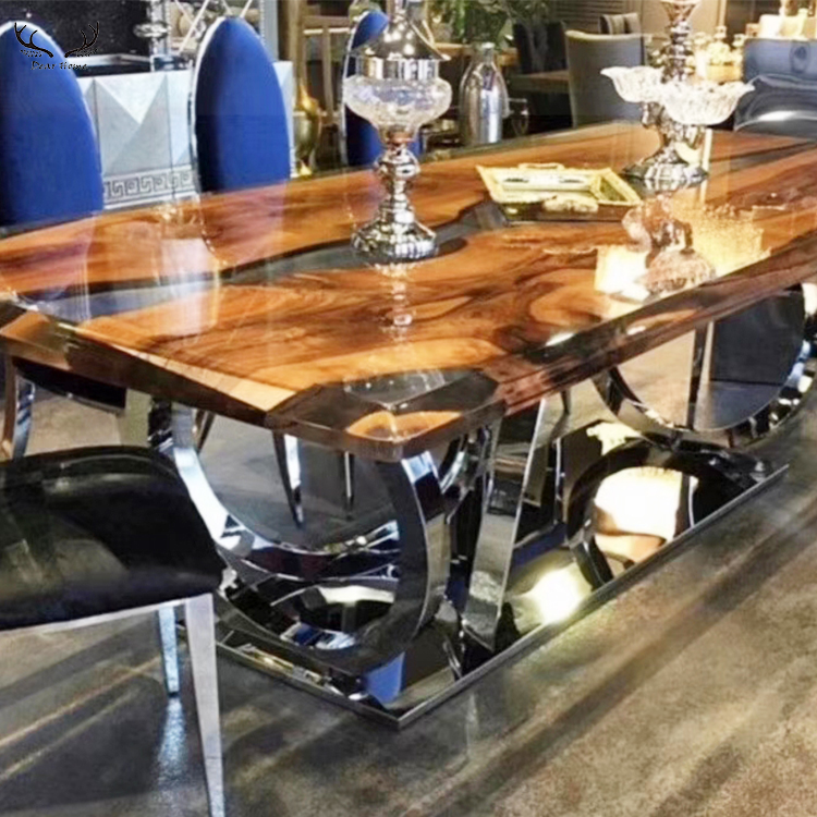 Table à manger en noyer massif américain table à manger en résine époxy de luxe sur mesure
