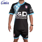 Custom wholesale sublimation blue set futboll black soccer uniform