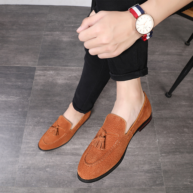 PDEP suede leather court big size37-48 men italian party male slip on tassel office oxford casual driving loafer business shoes