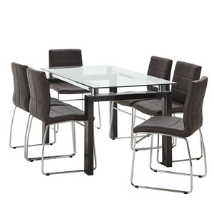 high quality dining room furniture 4/6/8 chair dining table set high top glass dinner table with pu chairs