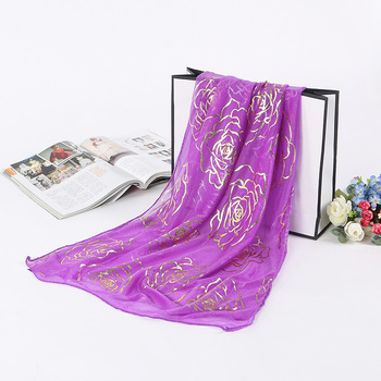 Women's Rose Embroidered Sunscreen Long Size Light Satin Shawl Turban fashion chiffon silk scarf bound