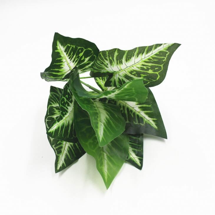 Lorenda YMTY001 decorative 9 head horseshoe <strong>green</strong> plants plastic leaf stem <strong>artificial</strong> <strong>leaves</strong> for decorations