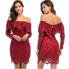 KEYIDI OEM Sexy Women Long Sleeve Off-the-shoulder Lace Mini Dress