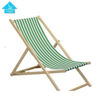 Outdoor Wooden Furniture Antique Folding Beach Chair Wood with stripe