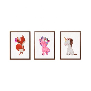 Fox Girl Pink White Unicorn Floral Crown Kids Room Woodland Animals Nursery Wall Art Prints