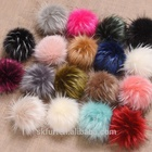 Factory wholesale accessories cheap price large fluffy faux or fake raccoon fur pom pom balls with snap