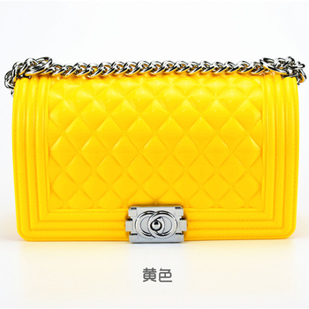 ladies korean style hand bag Women Fashion Silicon Jelly Crossbody Bag bolsas femininas Shoulder Bag with Chain