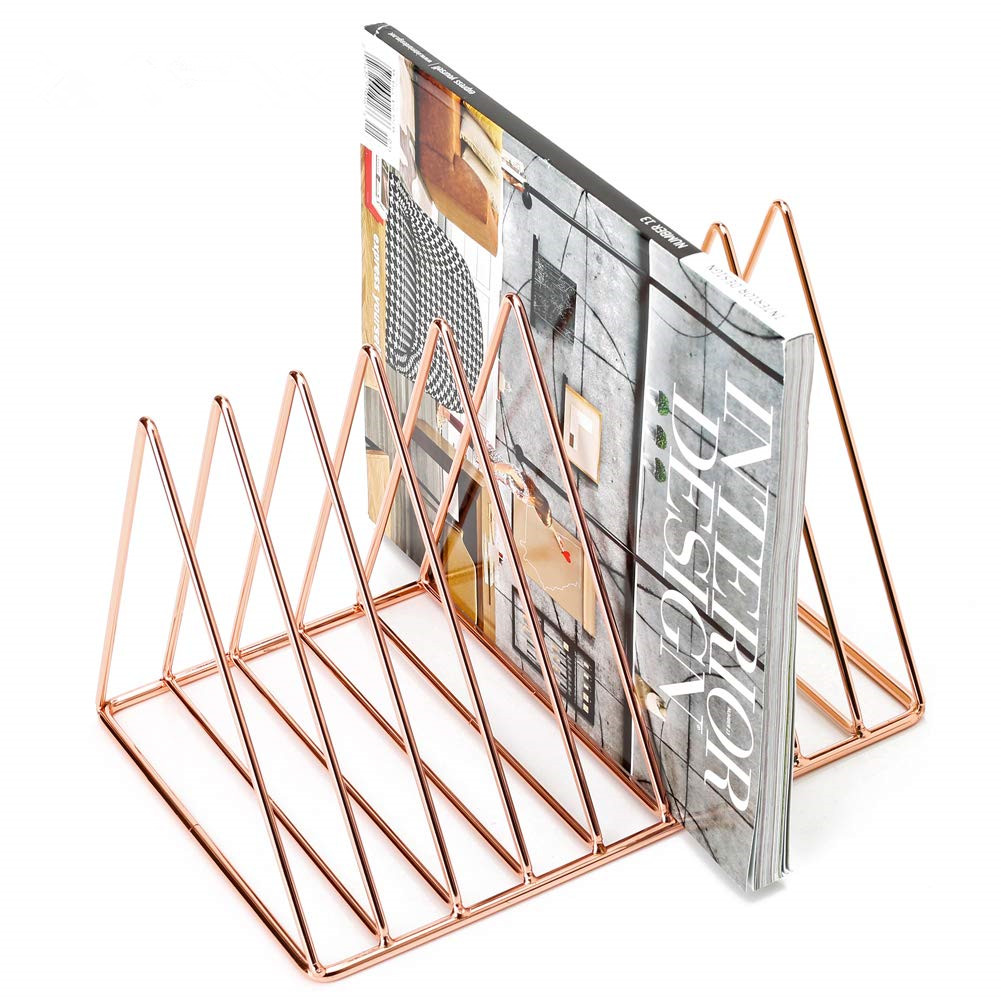 Luxury design Wideny office storage stationery chrome plated rose gold wire metal mesh office letter organizer shelf