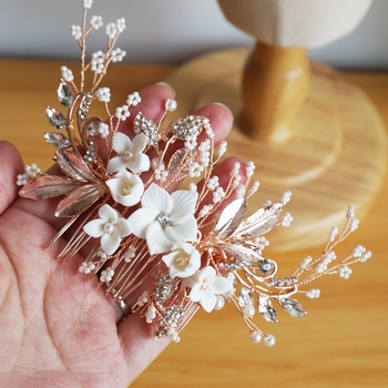 Crystal Rose Gold Bridal Headpiece Flower Wedding Hair Comb