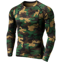 En gros Camo T-shirts Ajustement Sec Gym Chemise Sport À Manches Longues O-necek Chemise <span class=keywords><strong>Fitness</strong></span>
