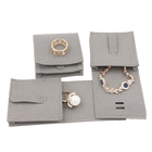 High End Custom Embossed Logo Mini Gray Suede Leather Flap Envelope Jewelry Gift Packaging Pouch Bag
