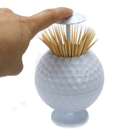 Factory Sales Golf Ball Shaped Automatic Toothpick Holder Pop-up Novelty Gift Indoor & Cars Golf Decoration Golf gifts