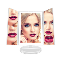 LED Fashion Cosmetic Mirror Trifold desktop foldable lighted makeup mirror for girl