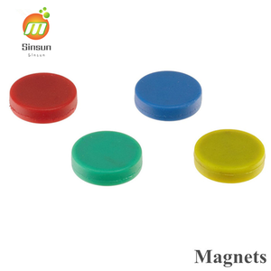 promotional round magnets colored rubber coated neodymium magnets