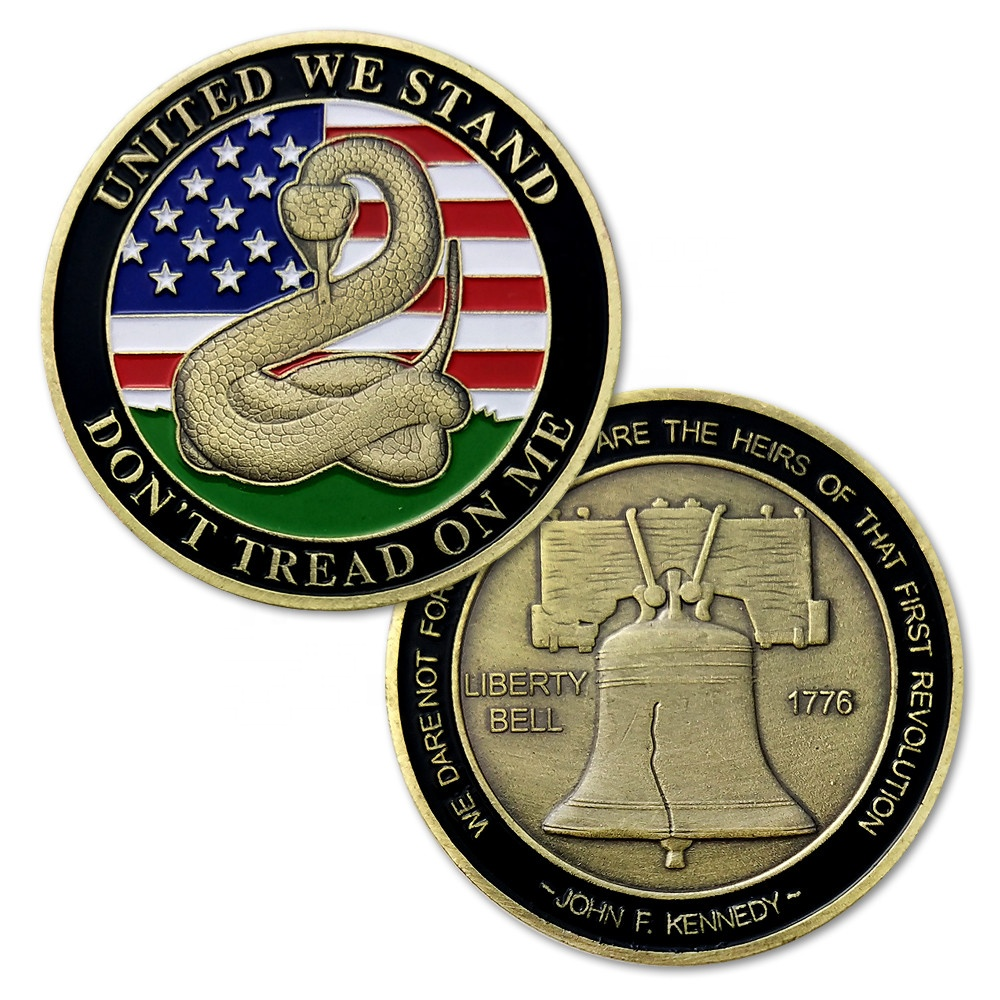 1776 Bandiera Americana Liberty Bell United We Stand non Tread on Me Bronzo Souvenir Sfida coin per la vendita