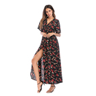 Fat women casual dresses ladies fashion long sleeve floral dress