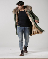 ARMY PARKA RACCOON REAL FUR HOOD NATURAL FUR LINED MEN JACKETS