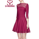 New designer one piece party ladies dress with umbrella-shaped hem hollow out red mini dress