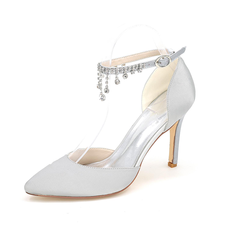 05bb6572ac3dd Son tasarım gelin ayakkabıları kadın istikrarlı topuk ayakkabı bayanlar  sandal 9 5 cm yüksek topuk ayakkabı sivri burun