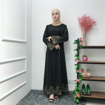 2019 new arrival pearl and lace black abaya full length EID Ramadan muslim dress with belt