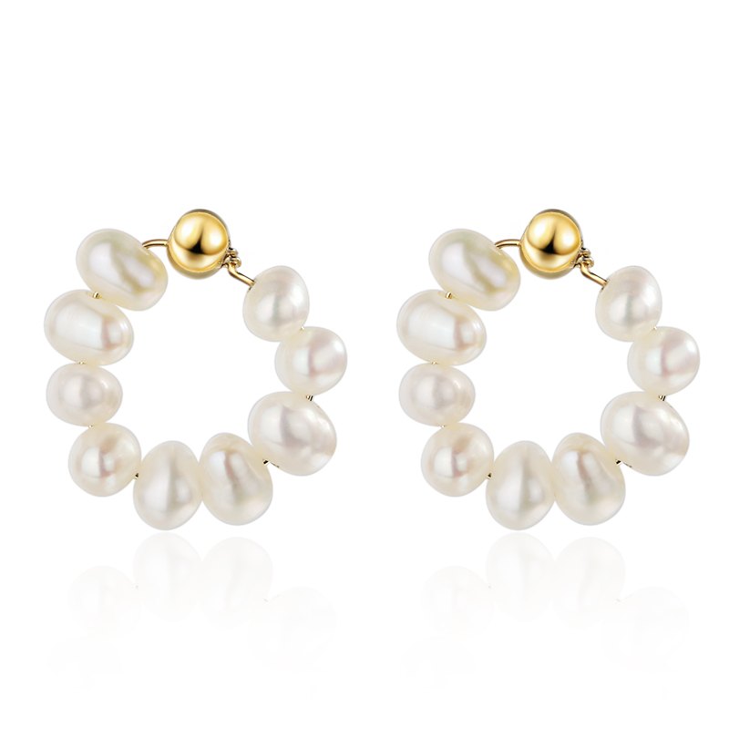 925 Sterling Silver Freshwater <strong>Pearl</strong> 18K Gold <strong>Earring</strong> For Girls