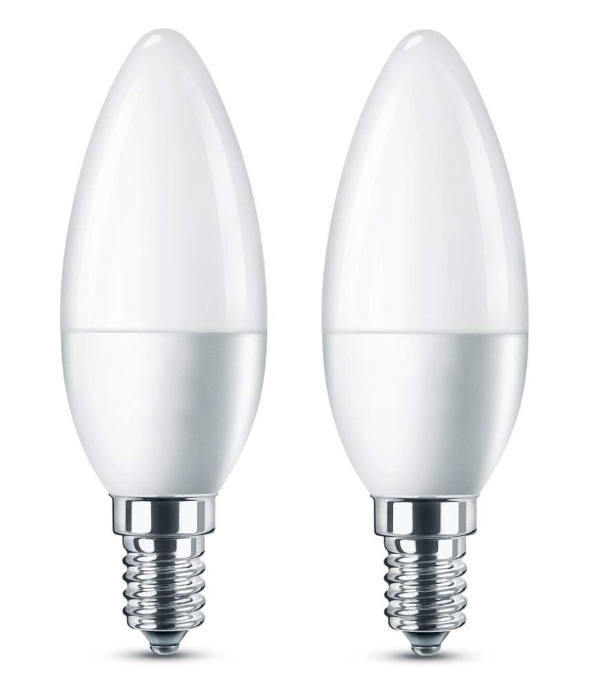 WiFi LED E14 Small Edison Screw Candle Bulb, 6W (equivalent to 40W), Clear, Dimmable- Pack of 2 [Energy Class A+] LED Light Bulb