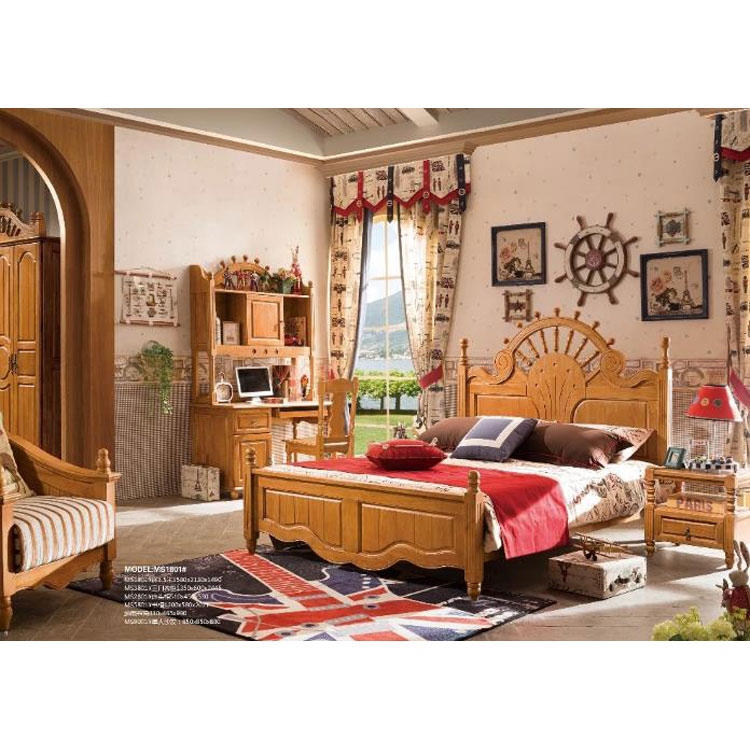 American Country Style Natural Wood Bedroom Sets,Enviromental Painting Bed  - Buy Country Style Bedroom Sets,Furniture Bedroom Sets,Sunshine Bedroom ...