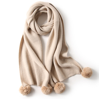 Wholesale 2019 fall winter girls stylish solid color Long cashmere muffler Knitted scarf with fur pompoms
