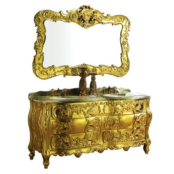 Foshan Manufacturer Made Luxury Antique Golden Bathroom Vanity With Double Basin