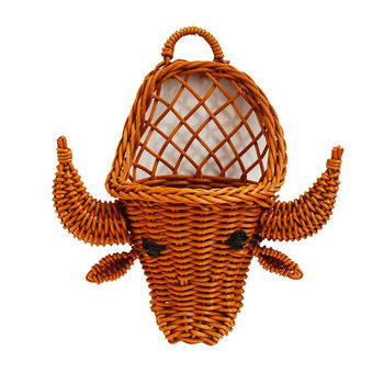 NEW PRODUCTS  Plastic rattananimal cattle  shape  storage wall plant basket