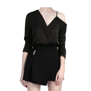 China Factory 2019 Woman Two Piece Office Work Suit Lady Black Sexy Mini Shorts Suits for Women Office