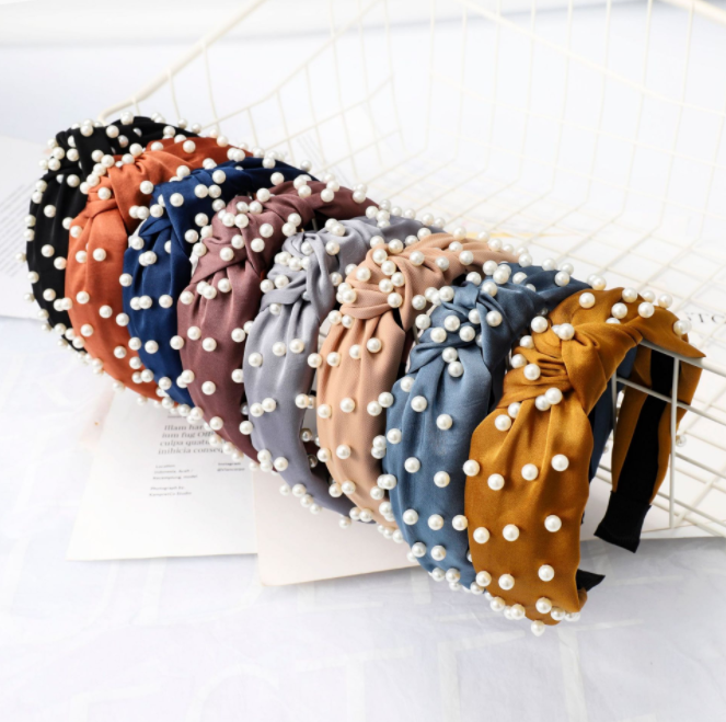 Fashion women hair accessories jewelry korean style pearl knotted <strong>headband</strong>