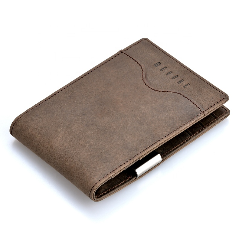 Factory price crazy horse leather high quality oem rfid money clip wallet for <strong>men</strong>
