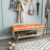 Metal frame bedroom bed end stool leather bench
